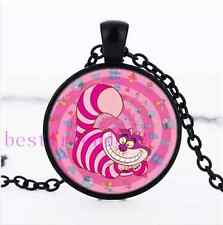 NEW Cute Pink Cheshire Cat Photo Glass Cabochon Black Pendant Necklace