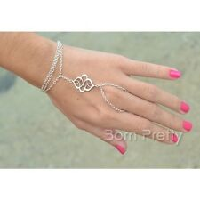 Women Multilayer Chain Link Eye-catching Hollow Out Bracelet Ring Jewelry Set