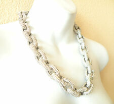SILVER Classic Chunky Pave Link Chain Crew Necklace J Style with 4,500+ Crystals