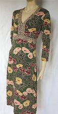 Jerseykleid BODEN Gr. 36 38 10L Stretch-Kleid retro Blumen Jersey grün rosa