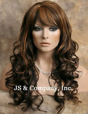 HUMAN HAIR Blend Long Wavy Brown Strawberry Mix Wig Heat Safe WBCR 4-27