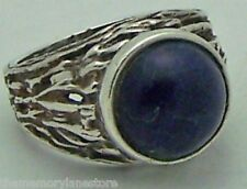 LARGE MEN'S ESTATE SIGNED BLUE STONE STERLING SILVER BAND RING SIZE 8.5