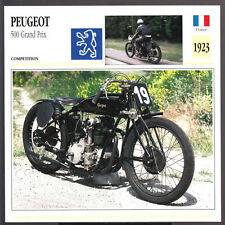 1923 Peugeot 500cc Grand Prix (496cc) Motorcycle Photo Spec Sheet Info Stat Card