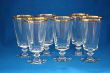VINTAGE TIFFIN AUREOLA  WINE/WATER GOBLETS  WITH GOLD RIM SET OF 6