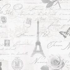Calligraphie paris carte postale papier peint rouleaux-gris-holden 97752