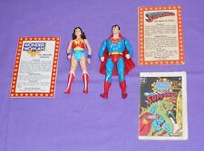 vintage Kenner Super Powers SUPERMAN & WONDER WOMAN lot with comic and bio cards