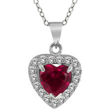 2.50 Ct Heart Shape Created Ruby with Cubic Zirconia Silver Pendant 18""