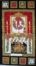 "24"" Fabric Panel - Christmas Fireplace Stocking Wreath - Timeless Treasures"