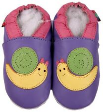 shoeszoo snail purple 3-4y S soft sole leather toddler shoes