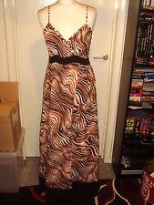 Sud crème / noir / terre cuite marron à lanière robe longue-taille 12 * Bnwt ** cravate ceinture *