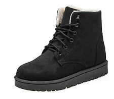 Women Winter Warm Martin Flat Ankle Snow Boots Lace up Suede Fur Lining Shoes