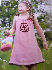 Knitting Pattern-  Girl's Simple Little D.K. Dress-In 2 Sizes to fit 3-6 years