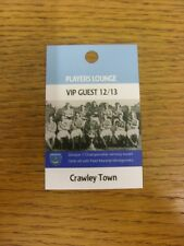 26/12/2012 Ticket: Portsmouth v Crawley Town [Players Lounge VIP Guest Pass] . T
