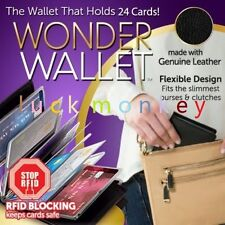 2016 Wonder Wallet - Amazing Slim RFID Wallets As Seen on TV Black Leather