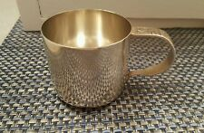 Vintage Child's Cup Made in Sweden EPNS Sailboat Horse Handle Silver Nickel