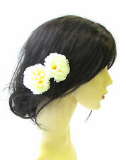 2 x Pale Yellow Cream Carnation Flower Hair Pins Bridesmaid Floral Vintage 1562