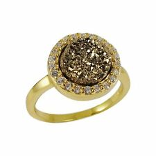Gold Plated Sterling Silver Champagne Druzy Quartz 8mm with CZ Size 5 Ring