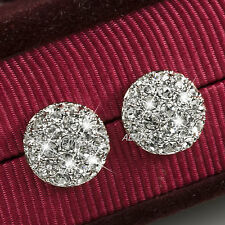 18K WHITE GOLD GF SWAROVSKI CRYSTAL HALF BALL STUD EARRINGS