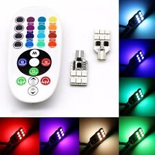 2PCS T10 RGB 6 LED Car SUV Interior Panel Light Dome Lamp Bulb Remote Control