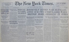 5-1941 WWII May 17 ROOSEVELT DEFIES GERMAN BLOCKADE, CITES OUR TWO UNDECLARED