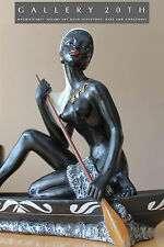 FRENCH ART DECO VTG MELANI NUDE SCULPTURE LAMP! Josephine Baker Barsony Black 30