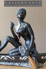 FRENCH ART DECO VTG MELANI NUDE SCULPTURE LAMP! Josephine Baker Barsony Black 30
