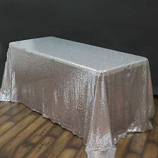 """90x132"""" Silver SEQUIN RECTANGLE TABLECLOTH Wedding Party Catering Linens SALE"""