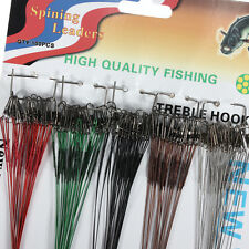 100pcs 16/18/22/24/28cm Green Fishing Trace Lures Leader Steel Wire Spinner New