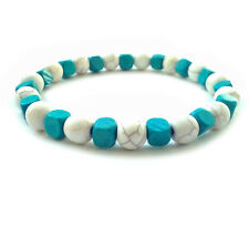 men's shamballa beaded stretch bracelet TURQUOISE COLOR CUBES gift wristband