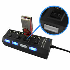 LED 4 USB Port Mains Socket AC Adapter On/Off Button Switch For Laptop PC Black