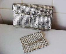 SILVER MESH WHITING & DAVIS HANDBAG CLUTCH & COIN PURSE VINTAGE SET