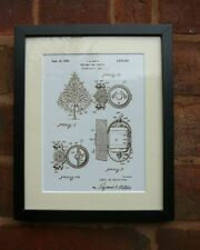 "USA Patent drawing Vintage CHRISTMAS TREE VIBRATOR Mounted PRINT 10"" x 8"" 1950"