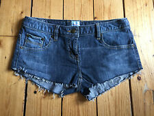 SASS & BIDE LADIES DISTRESSED REWORKED DARK BLUE DENIM HOTPANTS W26
