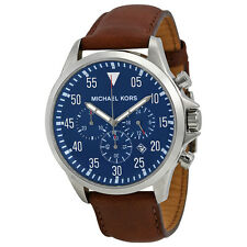Michael Kors Gage Chronograph Blue Dial Brown Leather Mens Watch MK8362