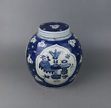 Chinese old blue white porcelain painted flower bonsai design jar bottle w sign