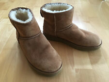 AUTHENTIC Tan Brown Sheepskin Lined Ugg Ankle Boots EU41 UK 8.5