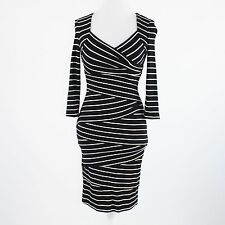 Black white striped stretch WHITE HOUSE BLACK MARKET 3/4 sleeve wiggle dress 0
