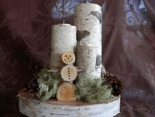 Christmas Birch Log Snowman TeaLight CenterPieces,wholesale Bulk 10count resell