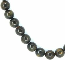 "15.5"" NATURAL BLUE Tiger Eye Round ~33 Beads 12mm K4612"
