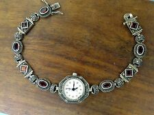 Vintage sterling silver MARCASITE GARNET BRACELET watch NEW BATTERY WORKING #9