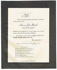 Avis de Décès Jules Bourel - Chevalier Mérite Agricole - Charolles 1949