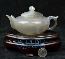 "5 3/4"" Natural Agate / Chalcedony Teapot / Tea Pot Statue / Carving / Sculpture"