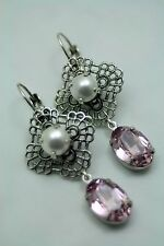Emma Swarovski Elements Tennis Earrings Rhinestone Pearl Lite Amethyst Original