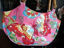 Pink Multi Color Sequin Butterfly Purse Bamboo Handle Handbag