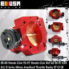 68MM Aluminum Throttle Body RED 88-00 Honda CivicRequire D16Y8 intakemanifold
