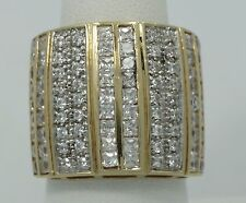 Very Nice 14K Yellow Gold Cubic Zirconia 20mm Wide Band Ring Size 8 B1471