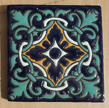 "8~Talavera Mexican 4"" tile Hi Relief Cobalt Blue Sea Foam Green Gold Yellow"