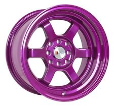 F1R F05 15X8 +0 4X100 PURPLE WHEELS FIT SCION XA XB IQ MIATA CIVIC SI JDM RACING