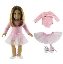 3 Pcs Set Tutu Ballet Skirts/Outfit+Shoes Doll Clothes for 18'' American Girl