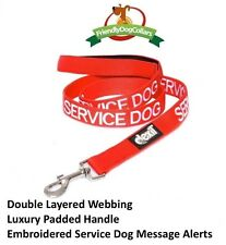 SERVICE DOG Alert Leash Padded Handle Strong Durable Red Green Blue 2 4 6 Foot